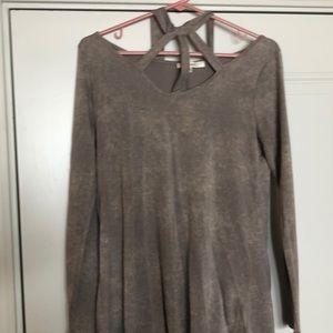 Distressed Brown Long-Sleeve Shirt